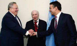 Σε εξέλιξη η συνάντηση Κοτζιά-Ντιμιτρόφ για το Σκοπιανό παρουσία Νίμιτς