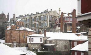 Χιονισμένο Άγιο Όρος και η Μονή Βατοπεδίου, γιόρτασαν τα Χριστούγεννα
