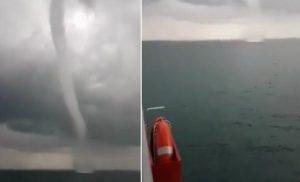 Υδροστρόβιλος «χτύπησε» πλοίο που ταξίδευε στο Ιόνιο βίντεο