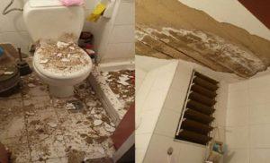 Έπεσαν οι σοβάδες την ώρα που έκανε μπάνιο στη φοιτητική εστία – ΦΩΤΟ